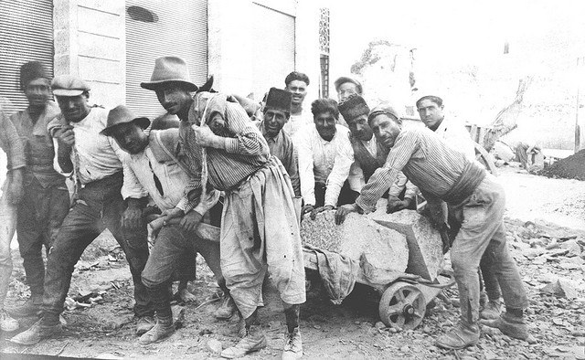 Young Armenian construction workers in Beirut