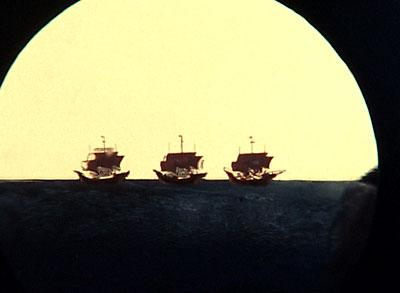 Достижение земли Колумбом. Посвящено пятисотлетию со дня открытия Америки.