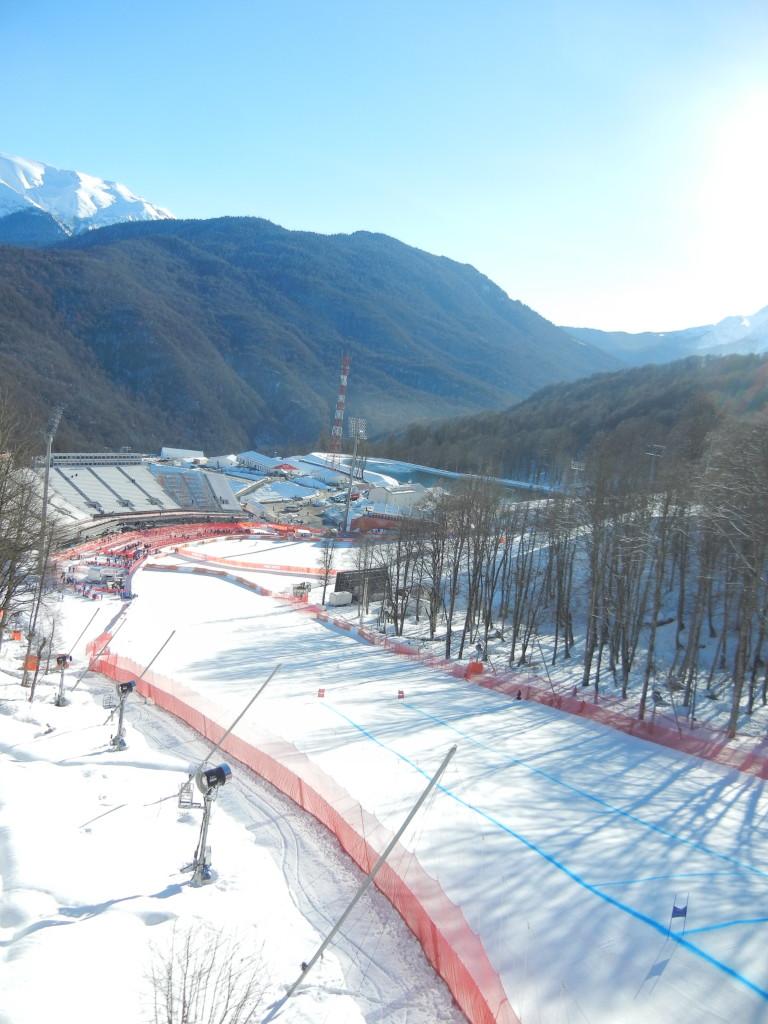 Зона финиша для слалома и других видов лыжного спорта