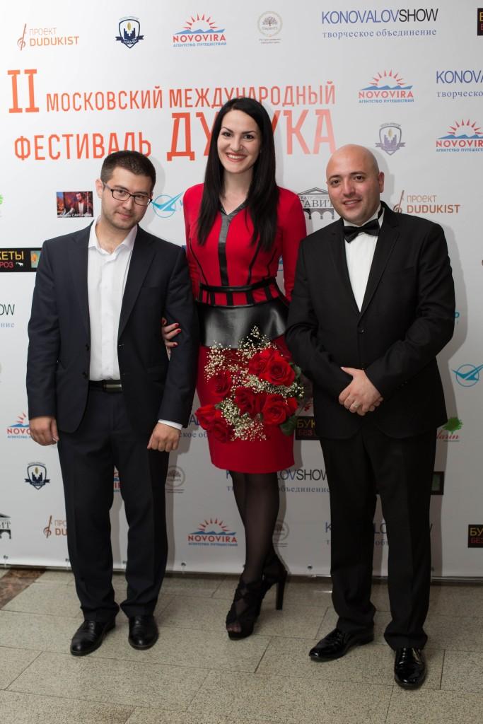 """Команда """"Дудукиста"""" : Сурен Багдасарян, Марина Селиванова и Оганес Казарян"""